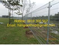 Hàng rào mạ kẽm bẻ tam giác 2 đầu khung lưới